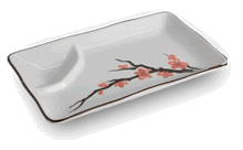 Sushi plate with sauce compartment
