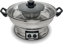 Electric hot pot with grill plate