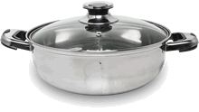 Fondue pot with lid, 2 compartments